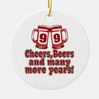99 Cheers Beer Birthday Ceramic Ornament