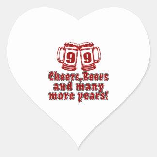 99 Cheers Beer Birthday Heart Sticker