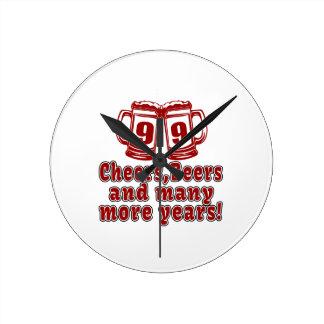 99 Cheers Beer Birthday Round Clock