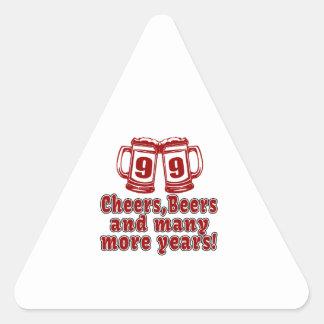 99 Cheers Beer Birthday Triangle Sticker