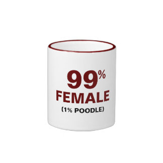 99% Female 1% Poodle Ringer Coffee Mug