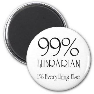 99% Librarian 2 Inch Round Magnet