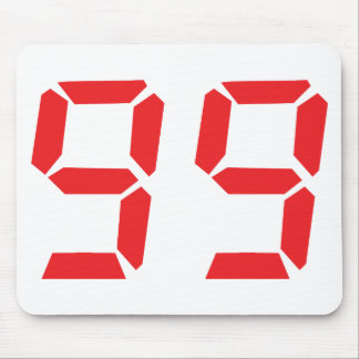 99 ninety-nine red alarm clock digital number mouse pad