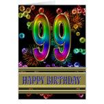 99.o Cumpleaños con las burbujas y los fuegos Felicitación