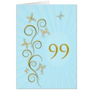 99.o Cumpleaños con las mariposas de oro Tarjeta De Felicitación