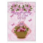 99.o Señora del cumpleaños, rosas y flores especia Felicitación
