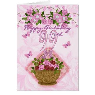 99.o Señora del cumpleaños, rosas y flores Tarjeta De Felicitación