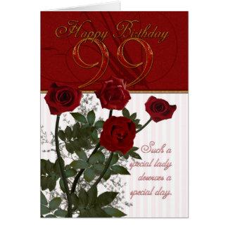 99.o Tarjeta de cumpleaños con los rosas