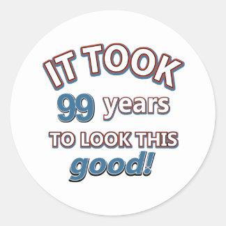 99.os diseños años del cumpleaños pegatina redonda