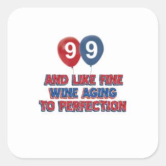 99.os diseños años del cumpleaños pegatina cuadrada