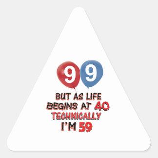 99.os diseños del cumpleaños del año pegatina triangular