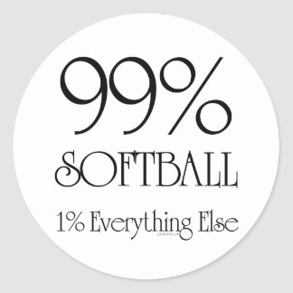 99% Softball Classic Round Sticker