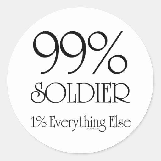 99% Soldier Round Stickers