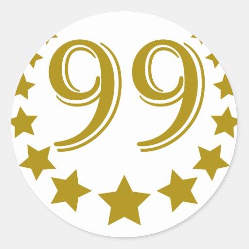 99 stars-Birthday.png Pegatina Redonda
