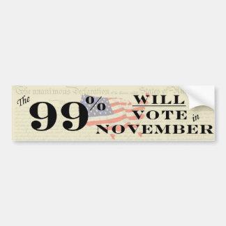 99% Vote in November Bumper Sticker