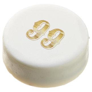 99th Anniversary 99 Birthday Gold White Cookie