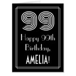 "[ Thumbnail: 99th Birthday — Art Deco Inspired Look ""99"" + Name Card ]"