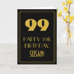 "[ Thumbnail: 99th Birthday – Art Deco Inspired Look ""99"" & Name Card ]"