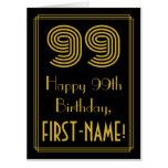 "[ Thumbnail: 99th Birthday: Art Deco Inspired Look ""99"" + Name Card ]"