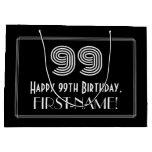 "[ Thumbnail: 99th Birthday — Art Deco Inspired Look ""99"" & Name Gift Bag ]"