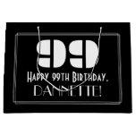"[ Thumbnail: 99th Birthday ~ Art Deco Inspired Look ""99"" + Name Gift Bag ]"