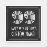 "[ Thumbnail: 99th Birthday: Art Deco Inspired Look ""99"" + Name Napkins ]"