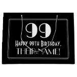 "[ Thumbnail: 99th Birthday: Art Deco Inspired Style ""99"", Name Gift Bag ]"