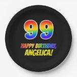 [ Thumbnail: 99th Birthday: Bold, Fun, Simple, Rainbow 99 Paper Plate ]