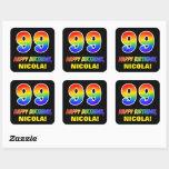 [ Thumbnail: 99th Birthday: Bold, Fun, Simple, Rainbow 99 Sticker ]