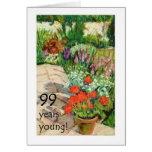 99th Birthday Card - Red Geraniums