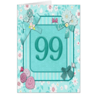 99th birthday card with flowers
