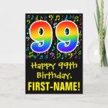 [ Thumbnail: 99th Birthday: Colorful Music Symbols + Rainbow 99 Card ]