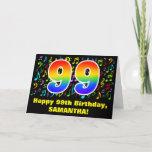 [ Thumbnail: 99th Birthday: Colorful Music Symbols & Rainbow 99 Card ]