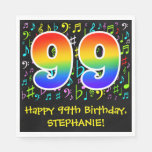 [ Thumbnail: 99th Birthday - Colorful Music Symbols, Rainbow 99 Napkins ]