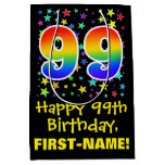 [ Thumbnail: 99th Birthday: Colorful Stars Pattern & Rainbow 99 Gift Bag ]