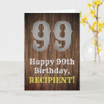 [ Thumbnail: 99th Birthday: Country Western Inspired Look, Name Card ]