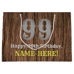 [ Thumbnail: 99th Birthday: Country Western Inspired Look, Name Gift Bag ]