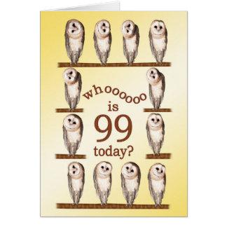 99th birthday, Curious owls card. Card