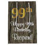 [ Thumbnail: 99th Birthday: Elegant Faux Gold Look #, Faux Wood Gift Bag ]