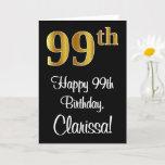 [ Thumbnail: 99th Birthday ~ Elegant Luxurious Faux Gold Look # Card ]