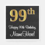 [ Thumbnail: 99th Birthday ~ Elegant Luxurious Faux Gold Look # Napkins ]