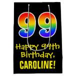 "[ Thumbnail: 99th Birthday: Fun, Bold, Colorful, Rainbow ""99"" Gift Bag ]"
