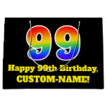 [ Thumbnail: 99th Birthday ~ Fun, Colorful, Vibrant, Rainbow 99 Gift Bag ]