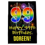 [ Thumbnail: 99th Birthday: Fun Fireworks Pattern + Rainbow 99 Gift Bag ]