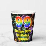 [ Thumbnail: 99th Birthday: Fun Fireworks Pattern + Rainbow 99 ]