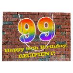 [ Thumbnail: 99th Birthday: Fun, Graffiti-Inspired Rainbow # 99 Gift Bag ]