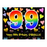 [ Thumbnail: 99th Birthday: Fun Hearts Pattern, Rainbow 99 Postcard ]