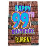 [ Thumbnail: 99th Birthday: Fun, Urban Graffiti Inspired Look Gift Bag ]