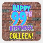 [ Thumbnail: 99th Birthday – Fun, Urban Graffiti Inspired Look Sticker ]