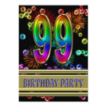 99th Birthday party Invitation with bubbles